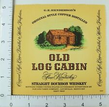 1950's-60's Vintage Old Log Cabin Copper Distilled Bourbon Whiskey Label Bottle