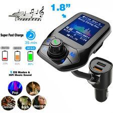 "VicTsing 1.8"" Color Bluetooth 5.0 Car Kit Fm Transmitter Qc 3.0 Quick Charger Us"