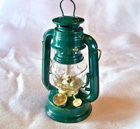 GREEN hurricane 8 in lamp light oil lantern hanging kerosene rustic CMP1227 gold