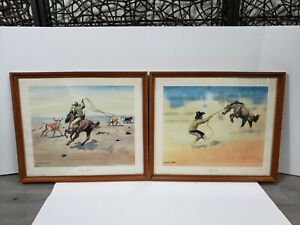 VTG  2 LEONARD REEDY LITHOGRAPHS  AN UNWILLING CAYUSE & CUTTING OUT FOR BRANDING