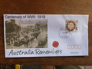 2018 CENTENARY WWI ARMISTICE ILLUSTRATED FDC FIRST DAY COVER