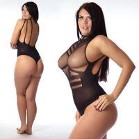 UK 6-26 Ladies Long Sleeve Mesh Lace Net Bodysuit Lot Top Blouse Jersey Stretchy