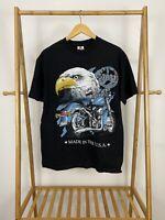 VTG 2001 Nothing But Bikes Bald Eagle Big Graphic Black T-Shirt Size L