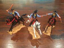 Timpo 2nd Series Mounted Cowboys x 3 -  Blue Shirts/ Black Waistcoats -1960's