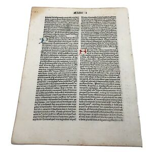 RARE 1487 Incunable Early Bible Leaf From Ester - Manuscript Codex Paper A