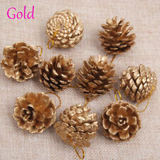 9pc Christmas Silver/gold Pine Cones Bauble Xmas Tree Decorations Ornament Decor Gold