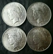 Lot of Four 1922 $1 Peace Silver Dollars