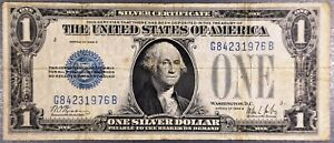 1928-B $1 SILVER CERTIFICATE Funny Back Bill Note Average Circulated A2256