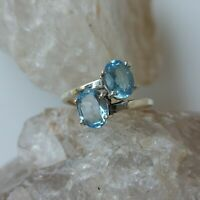 BLUE TOPAZ NATURAL GEMSTONE 925 STERLING SILVER HANDMADE JEWELRY RING 3 TO 12