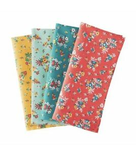 The Pioneer Woman ROSE DITSY Cloth Dinner Lunch Napkins Pack Of 4 NWT