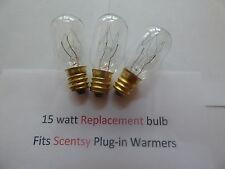 3 pack 15 watt Light Bulbs Fits PLUG-IN Scentsy Warmers and Medical equipment