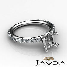 Fine Diamond Engagement Magnificent Ring 14k White Gold Oval Semi Mount 0.45Ct