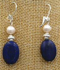 new Beautiful Freshwater White pearl blue lapis lazuli Silver hook Earrings