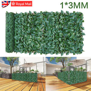 1m / 3m Artificial Screening Ivy Leaf Hedge Panels On Roll Privacy Garden Fence