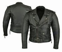 Chopper Men's Motorbike Leather Jacket Motorcycle Protection Armour CE All sizes
