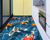 3D Seamless Koi Carps Water Wave Kitchen Floor Sticker Bathroom Wall Murals