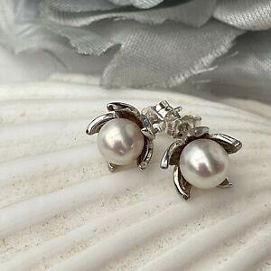 Flower Design Genuine 7mm AAA Japanese Akoya Pearl Sterling Silver Stud Earrings