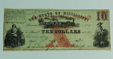 $10 State Of Mississippi Obsolete Note 1862 Faith Of State Pledged Red