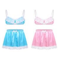 Sexy Men's Lace Boxer Briefs Satin Pouch Underwear Panties Bra Top Lingerie Set