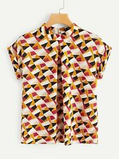 NEW 60's Retro Style Pleated Front Colorblock Geo Print Blouse size 12 - 14