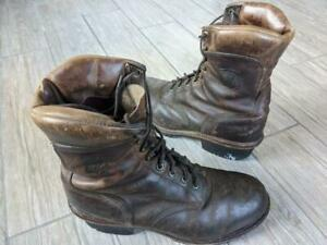 vintage CHIPPEWA boots LOGGER usa made 11 EE brown lineman packer 25485 superCH