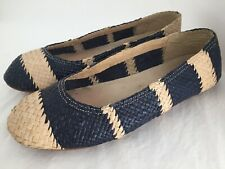 CAMPER Blue Beige Woven Leather Flats Shoes Size 39