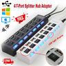 4/7 Port USB 2.0 Hub W/ High Speed Adapter ON/OFF Switch for Laptop PC Splitter