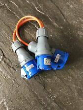 32A 900mm  Electric 2 Way Hook Up Splitter Cable. Camping, Boats. Orange