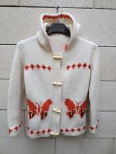 Gilet VINTAGE années 70 à capuche papillon blanc orange laine 38