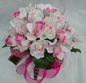 WEDDING POSY BOUQUET, REAL TOUCH ORCHID & ROSE PINK
