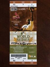 """2011 World Series """"Un-Used"""" Ticket, """"Autographed"""" by David Freese / Tony Larussa"""