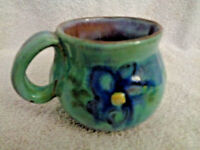Tea coffee cup Earthworks Barbados Studio art Pottery Blue Daisies  Handcrafted