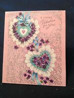 #1908🌟Vintage 1959 Loving Valentine For You! Ruffly Violets-Filled HEARTS Card