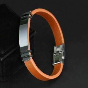 Fashion Men Stainless Steel Leather Bracelet Wristband Cuff Punk Bangle Jewelry