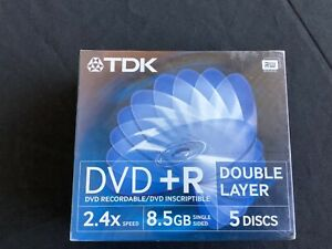 5 x TDK DVD+R Double Layer - Blank Discs - new and sealed - 2.4x speed, 8.5 gb