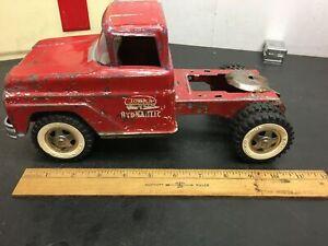 Vintage 1963- hydraulic Tonka truck USA patina Tin Toy 5th wheel Tractor trailer