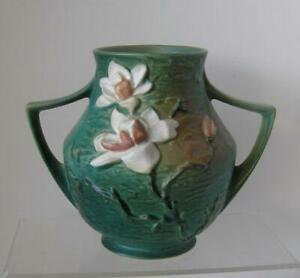 "Roseville Art Pottery No. 91- 8"" Magnolia Blue-Green 2-Handle VASE 1940's 10.5 W"