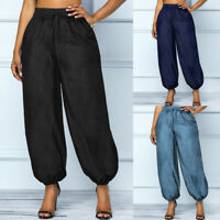 UK Womens Denim Tapered Pants Cargo Casual Loose Long Jeans Casual Work Trousers