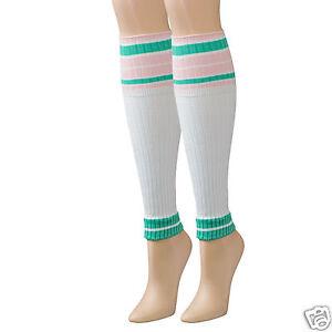 K.Bell Sport Leg Sleeve Sock White Green Pink Stripe Ladies Womens Socks New