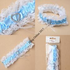 Blanco Azul Satin Y Encaje Corazón Diamante Cristal Novias Boda Garter Gallina Noche
