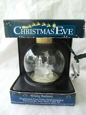 Illuminated Glass Nativity Bethlehem Christmas Ornament!  LARGE! LIGHTS UP!  IOB