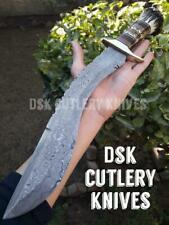 BEAUTIFUL CUSTOM HAND MADE DAMASCUS STEEL HUNTING KUKRI KNIFE HANDLE STAG HORN