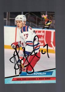 Alexei Kovalev New York Rangers 92/93 Ultra Signed Card W/Our COA