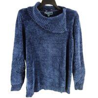 Karen Scott Women Sweater Blue Chenille Knit Split Cowl Neck Long Sleeve Size 3X
