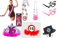 16th birthday fun wearable items - choose from necklaces, tiaras, sashes, hats