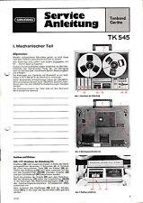 Service Manual-Anleitung für Grundig TK 545