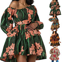 Women African Print Skater Dress Retro Mini A-Line Dress Party Bridesmaid Gown