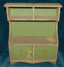 AWESOME ANTIQUE/VINTAGE PRIMITIVE GREEN & CREAM DOLL KITCHEN HUTCH/CUPBOARD!