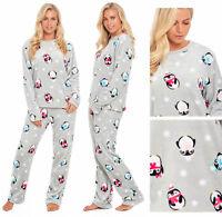Penguin Pyjamas Fleece Ladies Womens Pajamas Flannel Grey Novelty Twosie PJs
