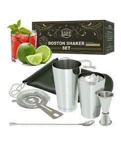 Boston Cocktail Shaker Mixer Set w/HD Strainer Japanese Jigger & 500 Recipes